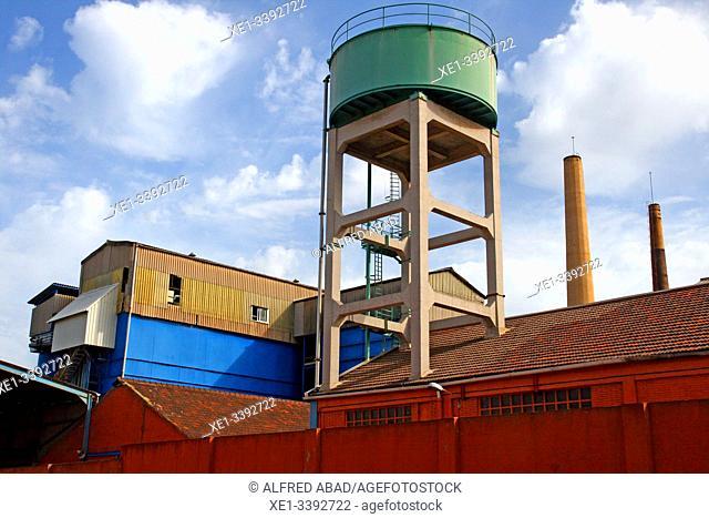 Water tank, industrial enclosure, Besos district, Barcelona, ??Catalonia, Spain