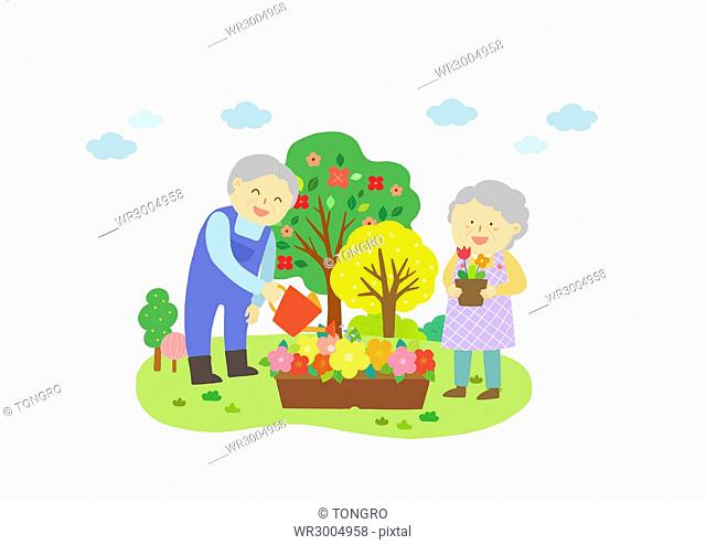 Harmonious senior couple taking care of flowers and trees