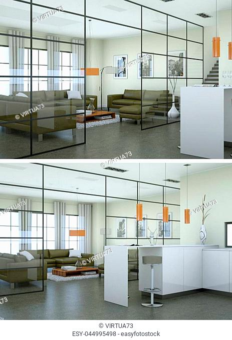 Two views of modern interior loft design with green sofas 3d Rendering