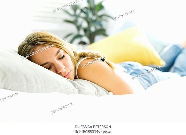 Woman in bed sleeping
