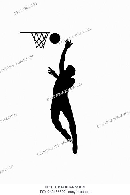 basketball player sport silhouette action jump illustration