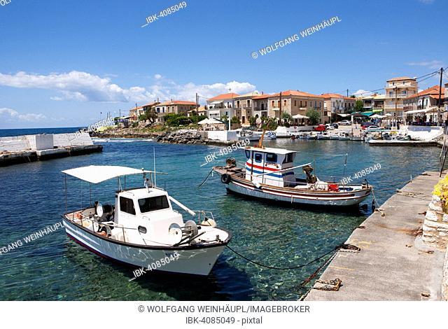 Fishing boats in the harbour, Agios Nikolaos, Mani Peninsula, Peloponnese, Greece