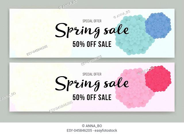 Spring Sale flyer or voucher design set. Vector illustration with Place for your text message. Poster, Sale Flyer with colorful flower. Best price