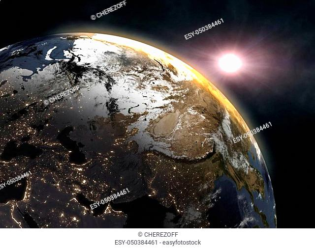 Sunrise over the Earth - Europe. Elements of this image furnished by NASA