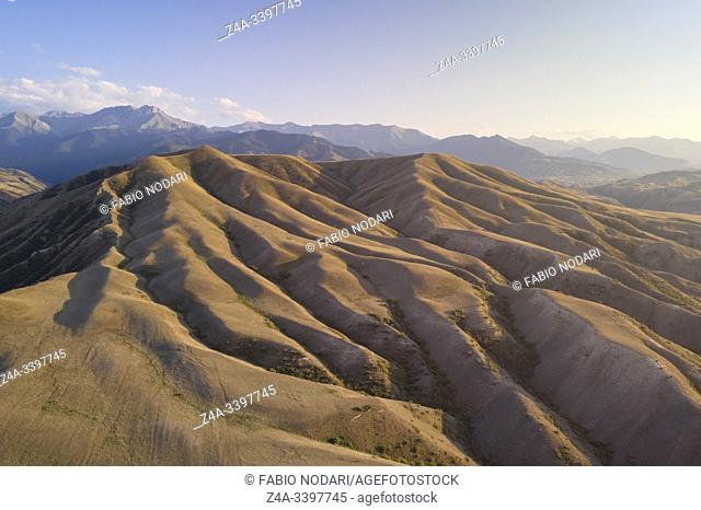 Aerial view of the mountains near Saty village in Kazakhstan