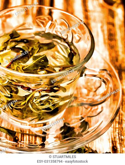 Green Chinese Tea Representing Well Asia And Drinking