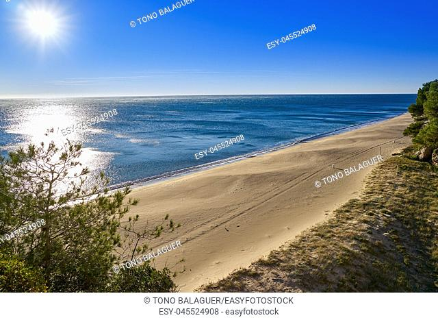 Cala Angels beach playa in Miami Platja of Tarragona at costa Dorada of Catalonia