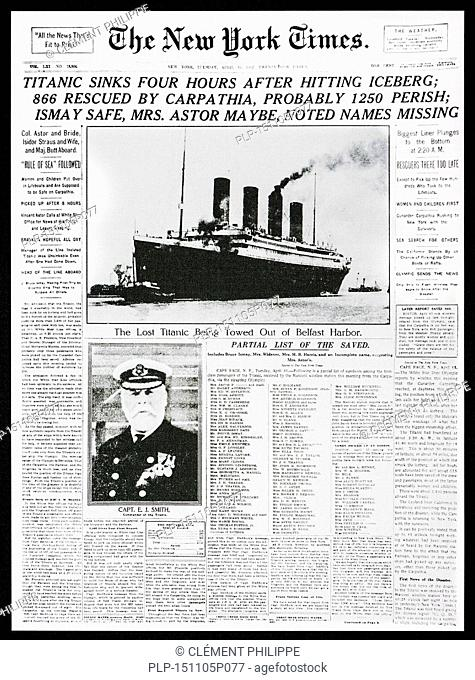 1912 front page news of The New York Times reporting the sinking of the Titanic after hitting iceberg