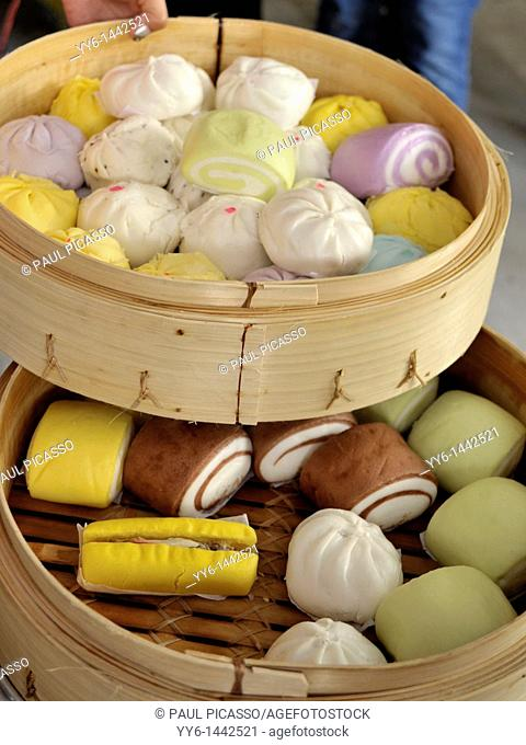 chinese dumplings and colourful buns, chinese delicacy, chinatown , bangkok, thailand