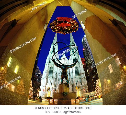 5th Avenue, Statue Of Atlas And Cathedral Of Saint Patrick At Christmas. New York City. USA