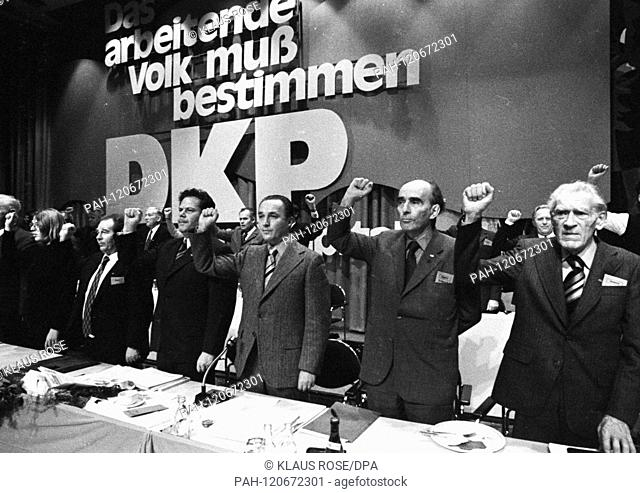 The party conference of the German Communist Party (DKP) on 1 - 4 November 1973 in Hamburg. (R-L): Max Reimann, Kurt Bachmann, Manfred Kapluck, Herbert Mies
