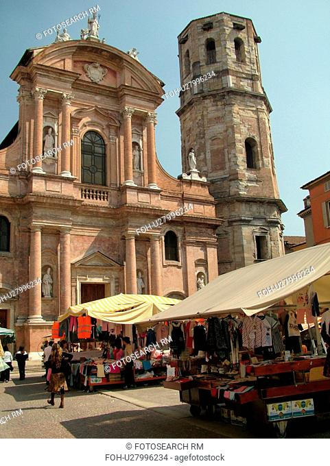 Emilia-Romagna, Italy, Reggio nell'Emilia, Europe, Market day outside the Chiesa di San Prospero in the Piazza di San Prospero in the town of Reggio Emilia