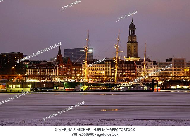 St. Michaelis Church and Rickmer Rickmers at Hamburg Harbour; Germany