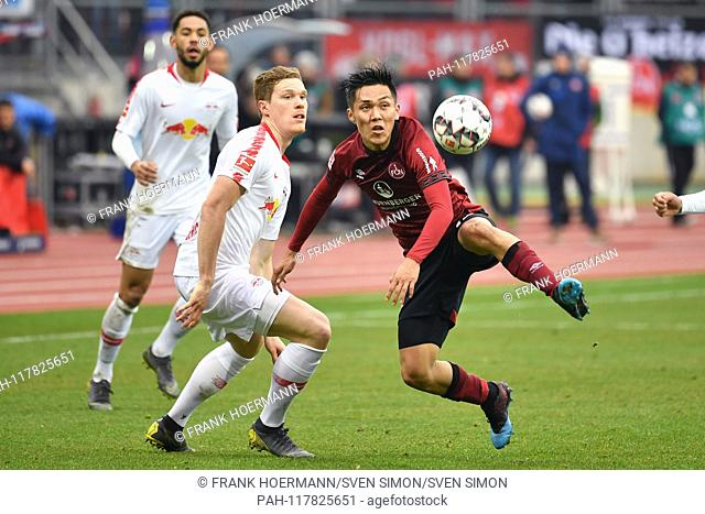 NO SALES IN JAPAN! Yuya KUBO (1.FC Nuremberg), action, duels versus Marcel HALSTENBERG (L). Soccer 1. Bundesliga, 24.matchday, matchday24, 1