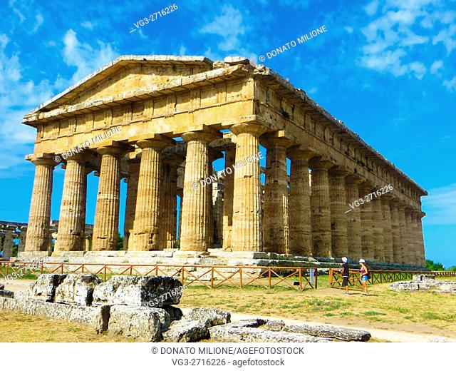 Paestum (Capaccio, SA, Cilento, Campania, Italy). The temple of Neptune (also called Temple of Hera II or Popseidon), located in the archaeological site of...
