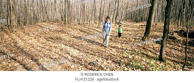 Mother and son walking through autumn forest, Montreal, Quebec