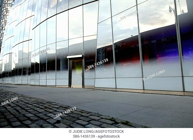 Door and Facade of a modern, glass office buiding