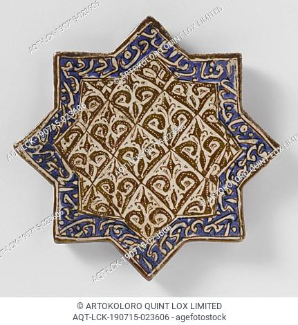 Star-shaped tile with stylized plants and pseudo-inscription, star-shaped tile with eight points of quartz fritware decorated with pseudo-script and stylized...
