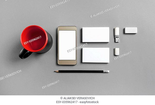 Blank stationery and gadgets template for placing your design. Mockup for branding identity. Top view