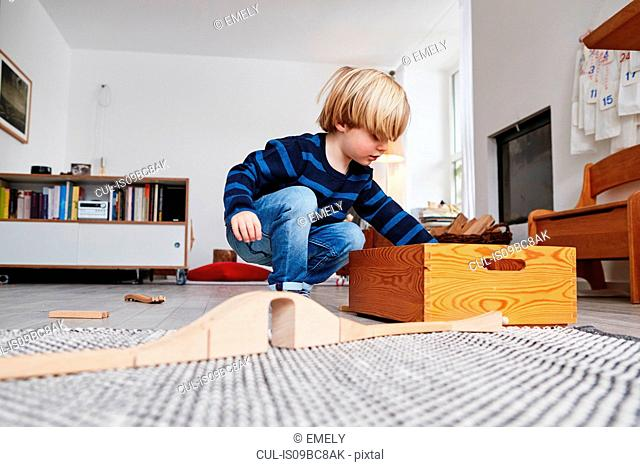 Young boy playing with toys in living room, low angle view