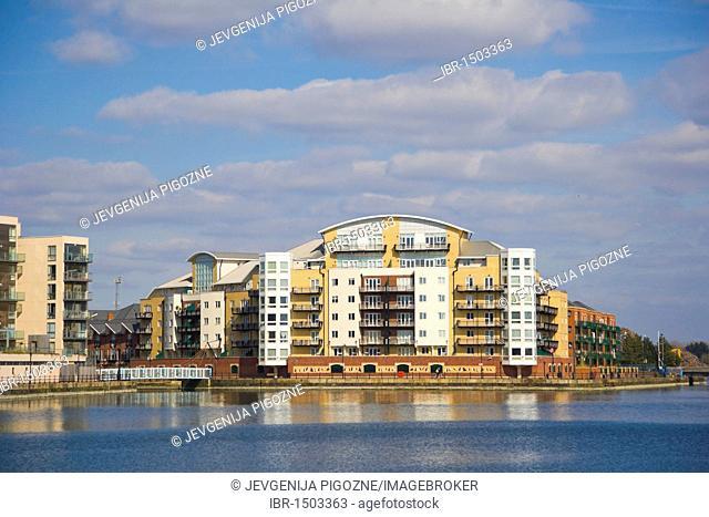 Riverside properties near Roath Basin, Cardiff Bay, Cardiff, Caerdydd, South Glamorgan, Wales, United Kingdom, Europe