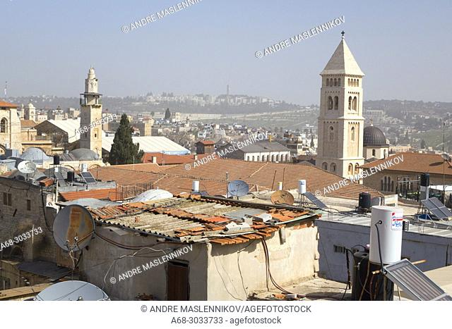 Urban aerial view of the Lutheran Church of the Redeemer at the old city of Jerusalem, Israel. As seen from Bilda, the Swedish Christian Study Centre roof top