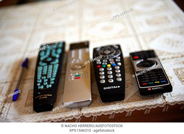 Remote controls on coffee table