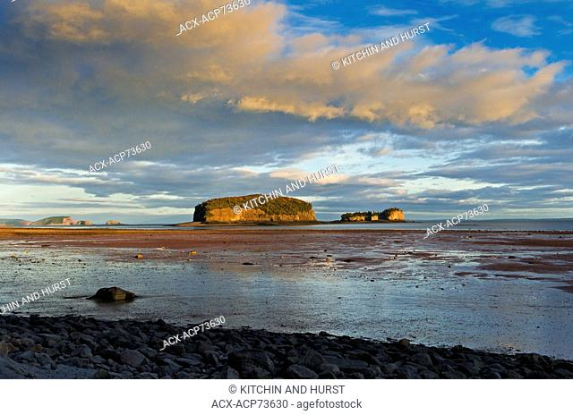 Bay of Fundy at low tide. The Brothers Islands located off Clarke Head in the Minas Basin, Nova Scotia. Canada