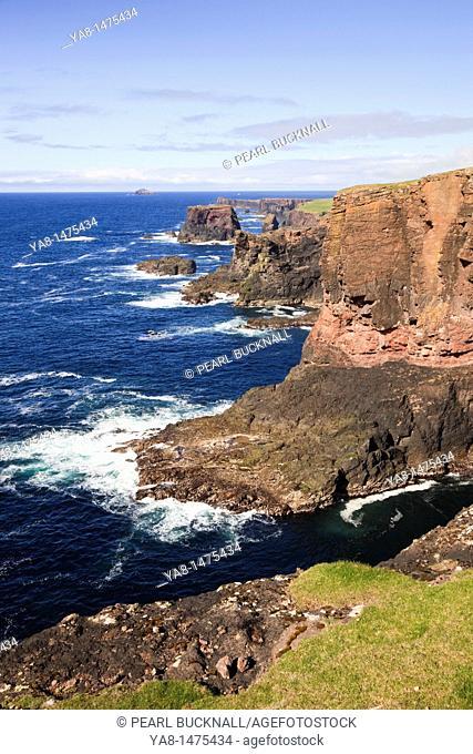 Head of Stanshi, Eshaness, Shetland Islands, Scotland, UK, Europe  View to cliffs on the rugged coastline