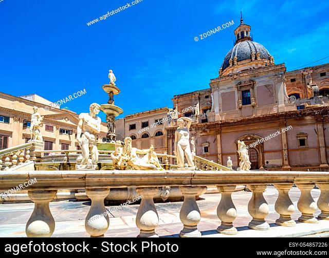 Piazza Pretoria and the Praetorian Fountain in Palermo, Sicily, Italy