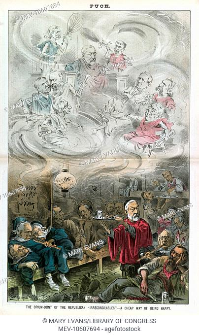 The opium-joint of the Republican irreconcilables - a cheap way of being happy. Illustration shows a scene in an opium den labeled Bloody Shirt Joint - Blaine &...