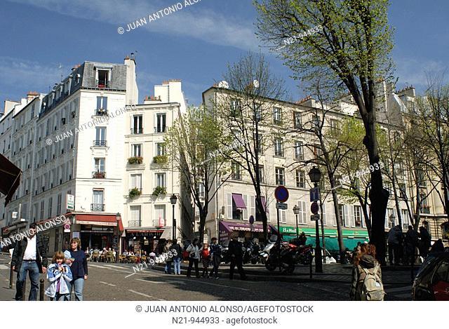 Buildings and cafes in Montmartre. Paris, France