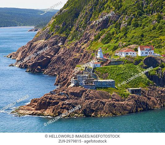 Fort Amherst Neighbourhood and lighthouse from Signal Hill, St John's, Newfoundland, Canada