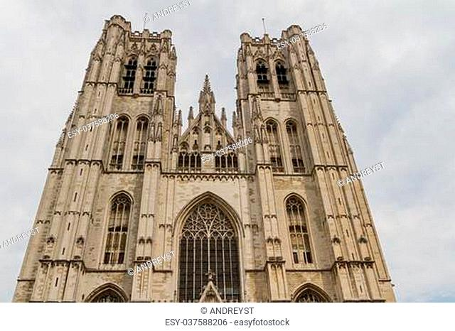 The beautiful Gothic cathedral St. Michael and St. Gudula striving for a blue sky, Belgium, Brussel, Europe