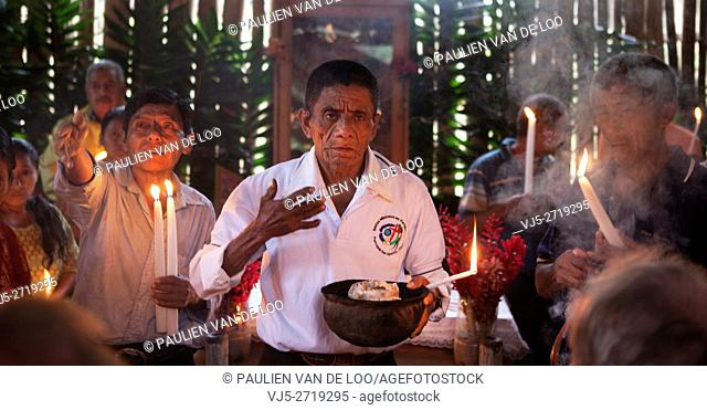 Chahal, Alta Verapaz, Guatemala, a maya priest gives a ceremony to pray for a good harvest