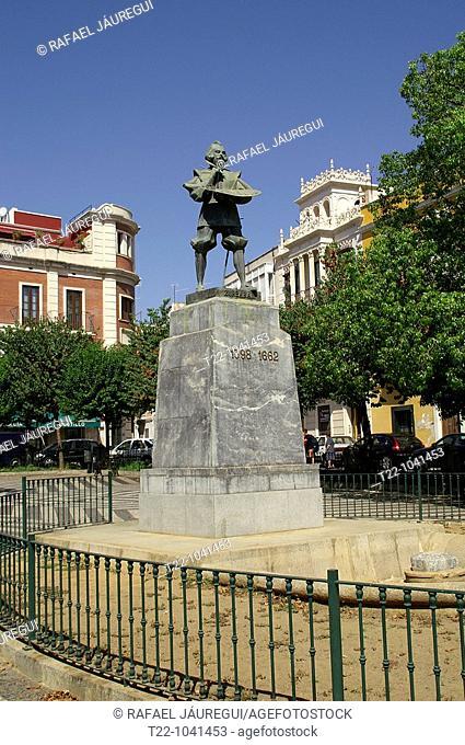 Badajoz España  Estatua del pintor Zurbarán en la ciudad de Badajoz  Statue of painter Zurbaran in Badajoz city