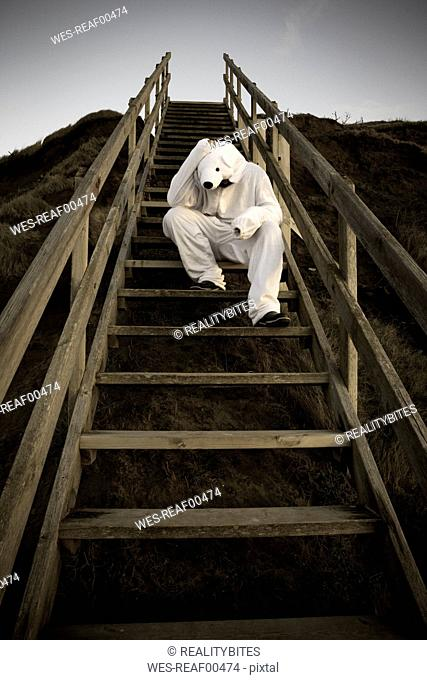 Man wearing ice bear costume sitting on steps, despair
