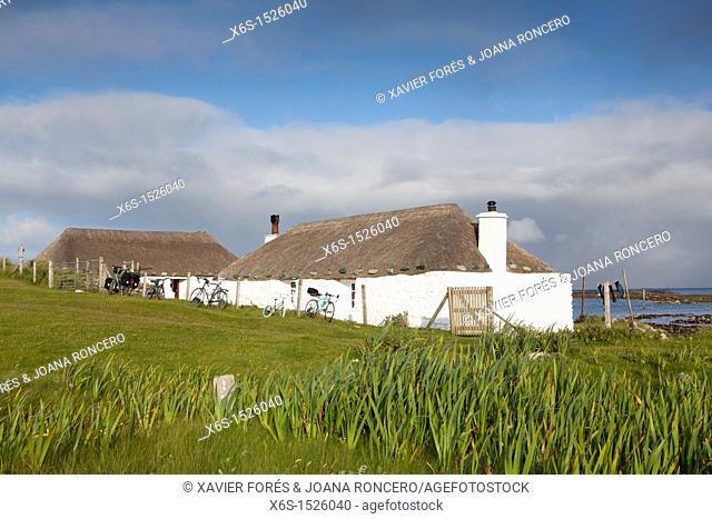 Traditional houses in Bernera island - Eilean Bherneraigh -, Western Isles or Outer Hebrides -Na h-Eileanan an lar-, Scotland