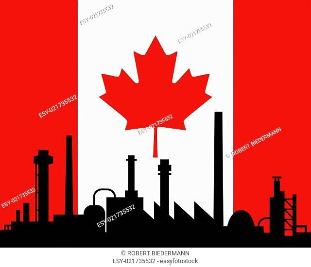 Industrie und Fahne von Kanada