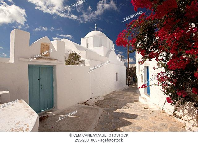 Street leading to a Orthodox church in old town, Chora, Amorgos, Cyclades Islands, Greek Islands, Greece, Europe.1015