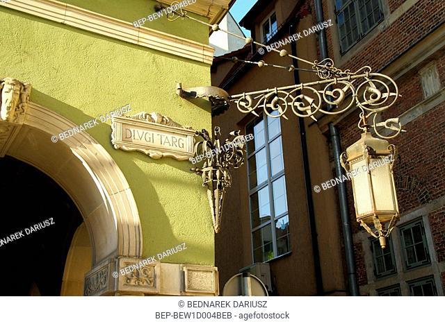 Old lamp on the building. Gdansk, Pomeranian Voivodeship, Poland