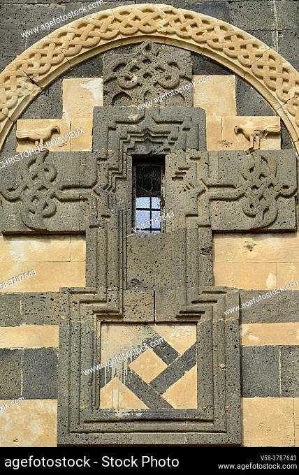 "Iran, West Azerbaijan province, Unesco World Heritage Site, Saint Thaddeus monastery (also known as Qara Kilise, the """"Black Church""""), Cross shaped window"