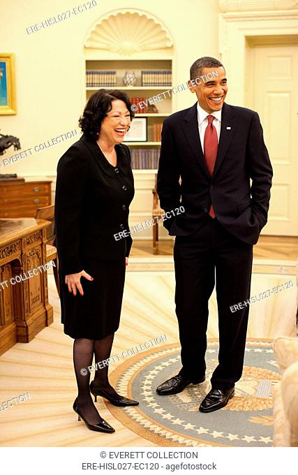 President Obama with new Justice Sonia Sotomayor prior to her confirmation reception at the White House. Aug. 12 2009. BSWH-2011-8-7