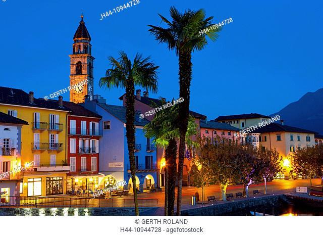 Ascona, Switzerland, Europe, canton, Ticino, Lago Maggiore, houses, homes, church, bank promenade, dusk, evening, lighting, palms