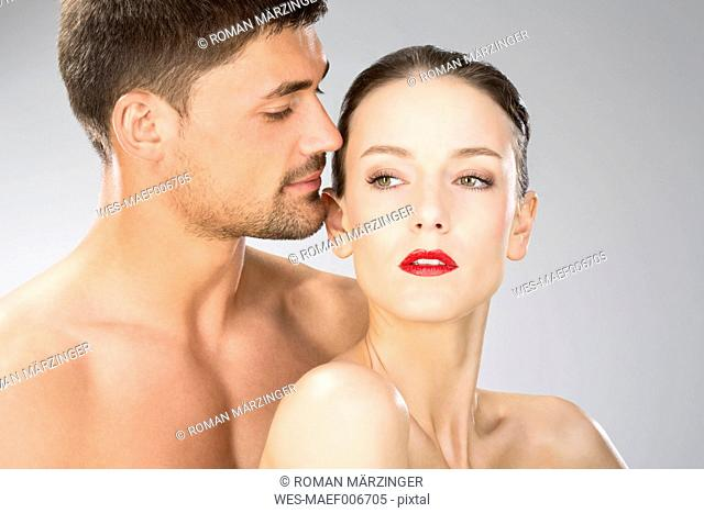 Young couple falling in love, close up