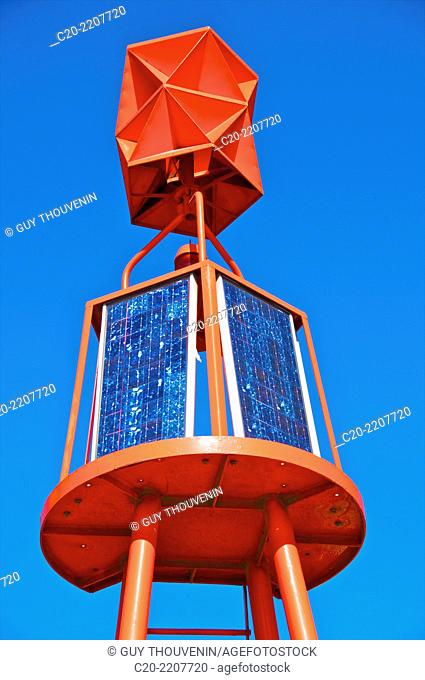 Solar marine buoy, right bank of river Seine, commerce harbour, Rouen, 76000 Upper Normandy, France