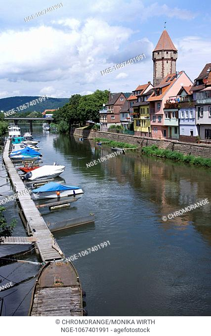 Romantic Tauber Valley near Wertheim, Main-Tauber district, Baden-Wuerttemberg, Germany, Europe