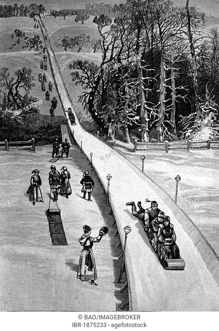 Slide in Essex County in New York, historical illustration, circa 1886