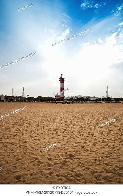Lighthouse on the beach, Chennai Lighthouse, Marina Beach, Chennai, Tamil Nadu, India