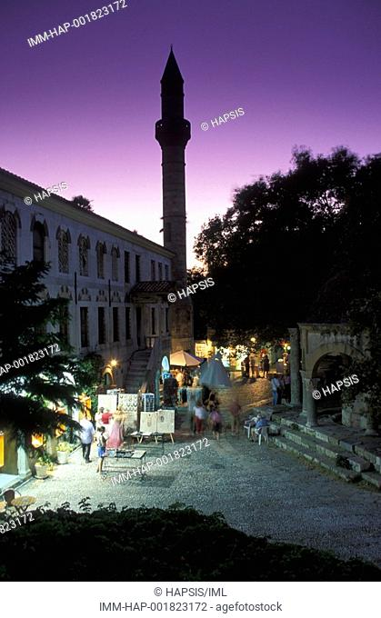 Kos Town, Platanou Square fountain of the Loggia Mosque, dusk  Kos, Dodecanese, Greece
